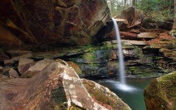 скалы, камни, водопад, сша, кентукки, jackson county park