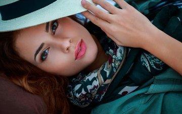 девушка, модель, волосы, губы, лицо, шляпа, кареглазая, joan lj, malaurie eugénie