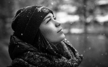 снег, профиль, шапка, губки, капюшон