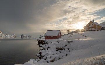 снег, зима, деревня, дома, норвегия, норвегии, лофотенские острова, фьорд, lofoten islands, nordland