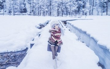 snow, winter, toy, doll