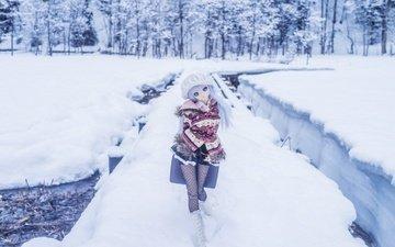 снег, зима, игрушка, кукла