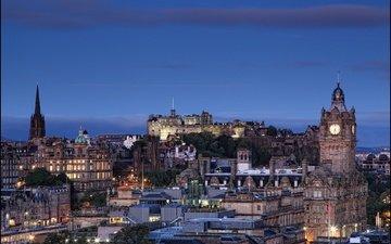 ночь, огни, город, шотландия, эдинбург, calton hill