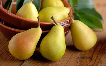 table, yellow, pear, ripe, juicy
