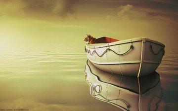 tiger, clouds, sea, boat