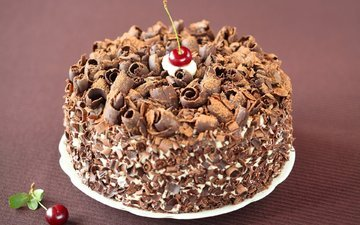 шоколад, торт, вишенка, крем