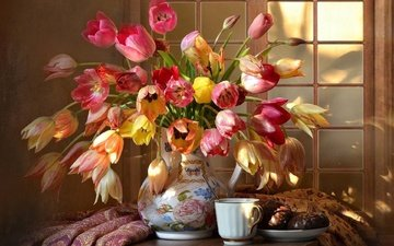 flowers, tulips, cup, tea, chocolate, pitcher, marshmallows, still life