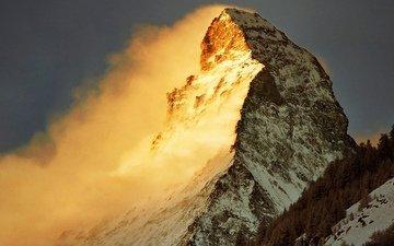 восход, швейцария, солнца, вершина маттерхорн