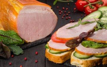 зелень, бутерброд, овощи, мясо, помидор, специи, огурец, ветчина