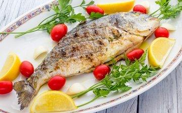 зелень, лимон, рыба, помидоры, морепродукты, петрушка, жареная рыба
