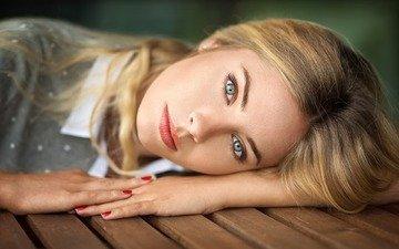 девушка, блондинка, портрет, взгляд, волосы, лицо, макияж, прическа, lods franck, cassandre