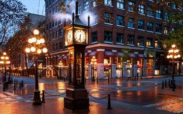 ночь, фонари, город, часы, улица, ванкувер, здание, канада, британская колумбия