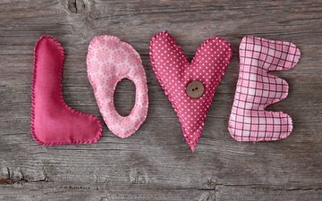 letters, heart, love, fabric, needlework, button