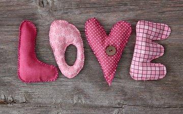 буквы, сердце, любовь, ткань, влюбленная, рукоделие, пуговица