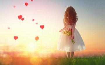children, girl, heart, tulips, child, balloons, child.mood