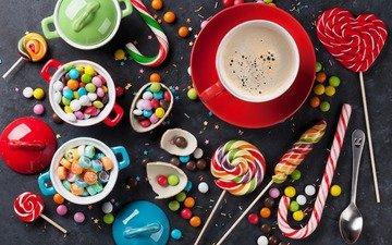 кофе, конфеты, сладости, шоколад, леденцы, карамель, мармелад, драже