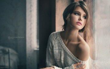 девушка, взгляд, модель, волосы, лицо, плечо, natalia mentugova