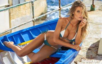 девушка, блондинка, взгляд, лодка, волосы, лицо