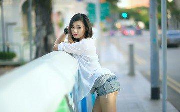 девушка, настроение, взгляд, азиатка, шорты