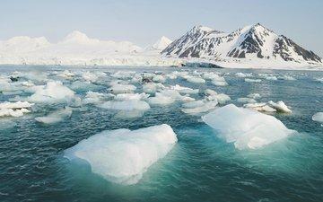 горы, пейзаж, лёд, льды, арктика
