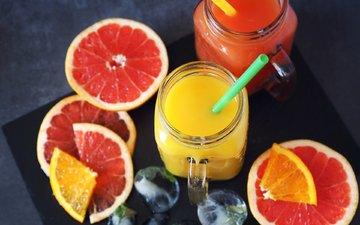 напиток, фрукты, лёд, апельсин, цитрусы, грейпфрут, сок, yulia vinogradova