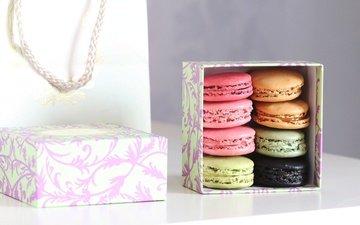 подарок, коробка, печенье, выпечка, десерт, макаруны