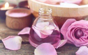 розы, роза, лепестки, масло, спа, мазут, аромат, розовые розы, флакон