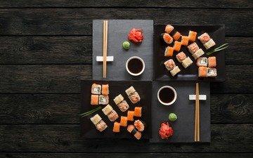 палочки, соус, суши, роллы, вассаби, имбирь