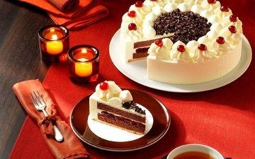 шоколад, сладкое, торт, десерт, пирожное, свечки, крем