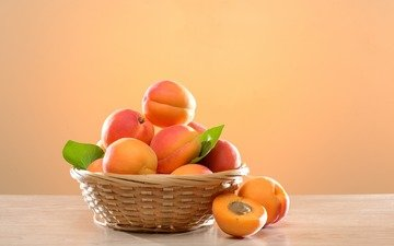 fruit, basket, apricots