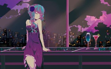 art, night, girl, view, anime, glass, vocaloid, window, cocktail, blue hair, closed eyes, evening dress, hatsune miku, marirero