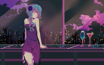 арт, ночь, девушка, вид, аниме, бокал, вокалоид, окно, коктейль, голубые волосы, закрытые глаза, вечернее платье, мику хацунэ, marirero