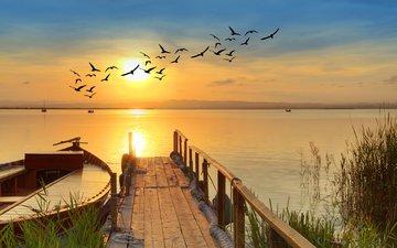 озеро, мостик, закат, пейзаж, лодка, птицы