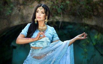 украшения, девушка, поза, брюнетка, модель, индийская