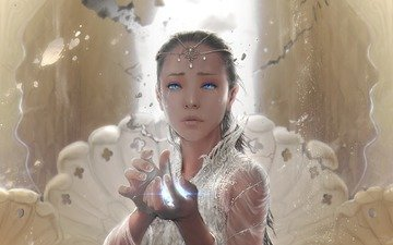 art, girl, fantasy, blue eyes, magic, the neverending story