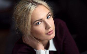 девушка, блондинка, портрет, взгляд, волосы, лицо, ева, lods franck