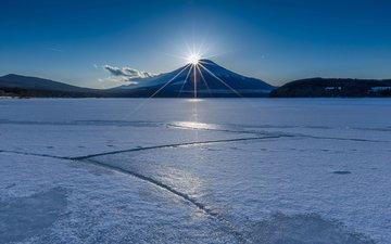 вечер, озеро, пейзаж, лёд, вулкан