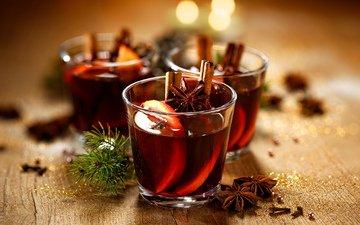 напиток, корица, яблоки, апельсин, рождество, смородина, специи, анис, глинтвейн, клюква, грог