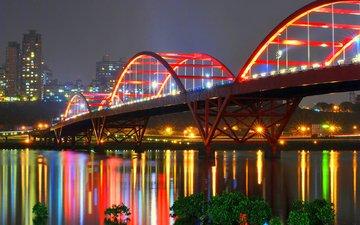 ночь, огни, отражение, мост, китай, мост гуанду, синьбэй