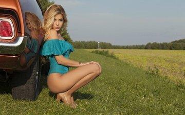 girl, blonde, model, car, priscilla caripan
