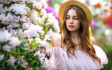цветение, девушка, поза, шляпка