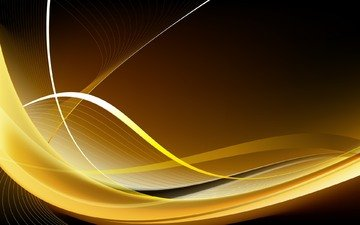 желтый, абстракция, линии, волны, фон, цвет