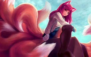 art, girl, smile, anime, the game, ears, tails, ahri, league of legends