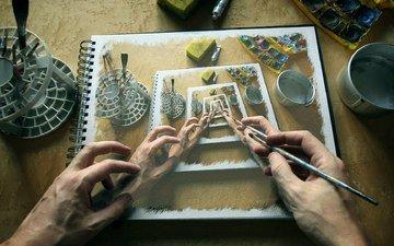 арт, рисунок, отражение, краски, руки, художник, кисточка