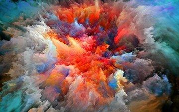 арт, абстракция, цвета, краски, дым, краска, яркость, взрыв