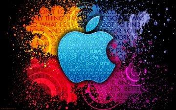 фон, краски, пятна, логотип, мак, яблоко, бренд, фразы