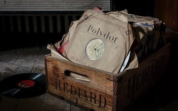 vintage, retro, music, paper, vinyl, dust, records, collection, box