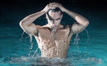 water, drops, look, male, brunette. torso