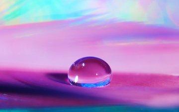 вода, макро, капля, о, прозрачность, п, сиреневый фон