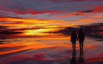 небо, арт, рисунок, вода, закат, девушка, отражение, море, парень, пара(